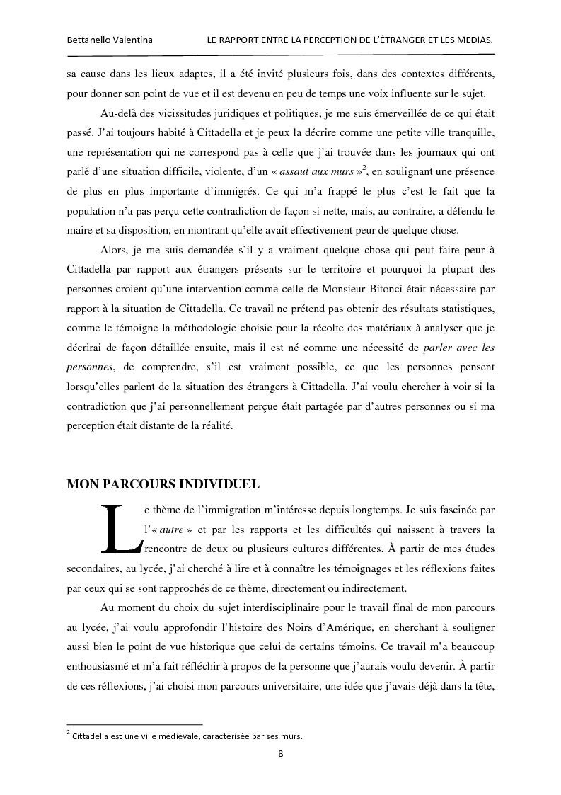 Anteprima della tesi: Le rapport entre la perception de l'étranger et les médias, Pagina 2