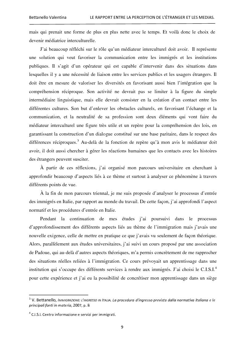 Anteprima della tesi: Le rapport entre la perception de l'étranger et les médias, Pagina 3