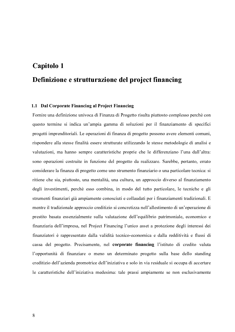 Anteprima della tesi: Applicazione del Project Financing al settore sanitario italiano. Analisi di ''Il Nuovo Complesso Ospedaliero di Vimercate''., Pagina 1