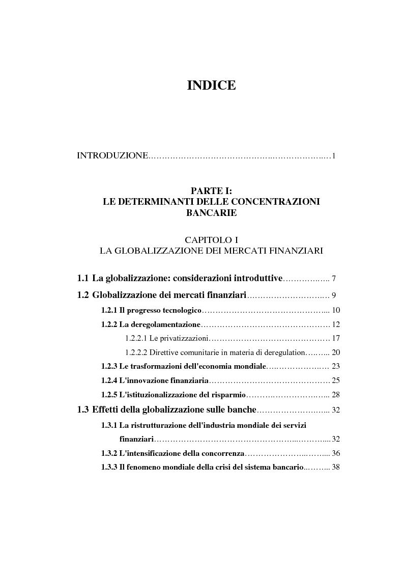 Indice della tesi: Determinanti ed obiettivi delle concentrazioni bancarie in Italia e gli effetti nel rapporto con le imprese, Pagina 1