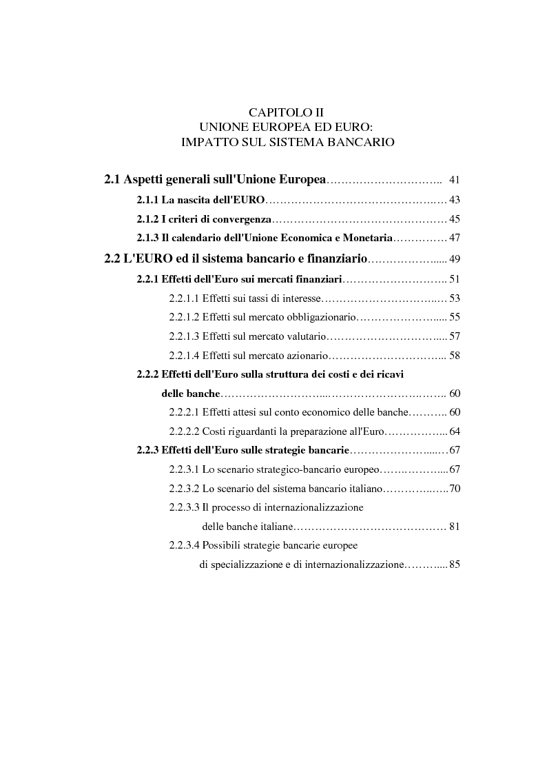 Indice della tesi: Determinanti ed obiettivi delle concentrazioni bancarie in Italia e gli effetti nel rapporto con le imprese, Pagina 2