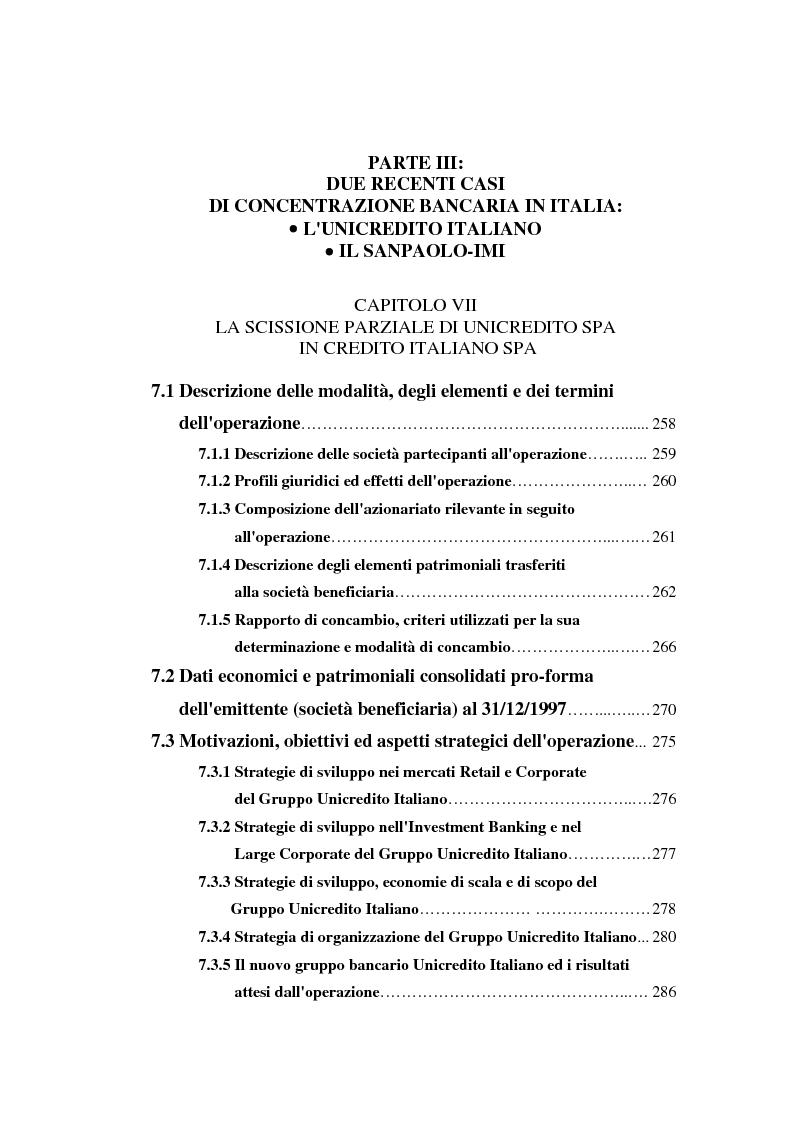 Indice della tesi: Determinanti ed obiettivi delle concentrazioni bancarie in Italia e gli effetti nel rapporto con le imprese, Pagina 5
