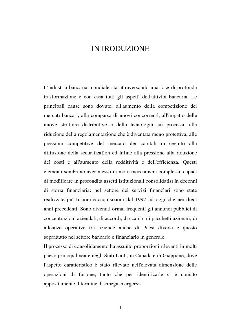 Anteprima della tesi: Determinanti ed obiettivi delle concentrazioni bancarie in Italia e gli effetti nel rapporto con le imprese, Pagina 1