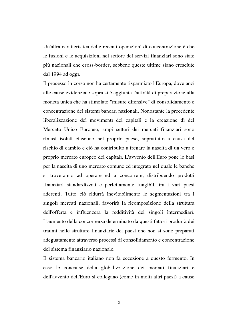 Anteprima della tesi: Determinanti ed obiettivi delle concentrazioni bancarie in Italia e gli effetti nel rapporto con le imprese, Pagina 2