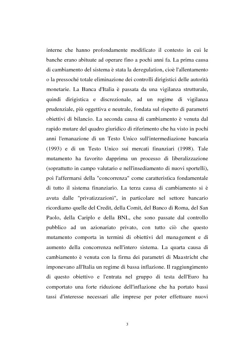 Anteprima della tesi: Determinanti ed obiettivi delle concentrazioni bancarie in Italia e gli effetti nel rapporto con le imprese, Pagina 3