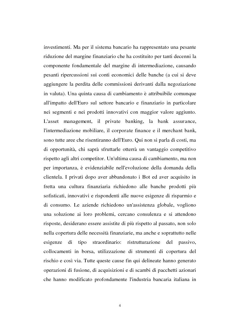 Anteprima della tesi: Determinanti ed obiettivi delle concentrazioni bancarie in Italia e gli effetti nel rapporto con le imprese, Pagina 4