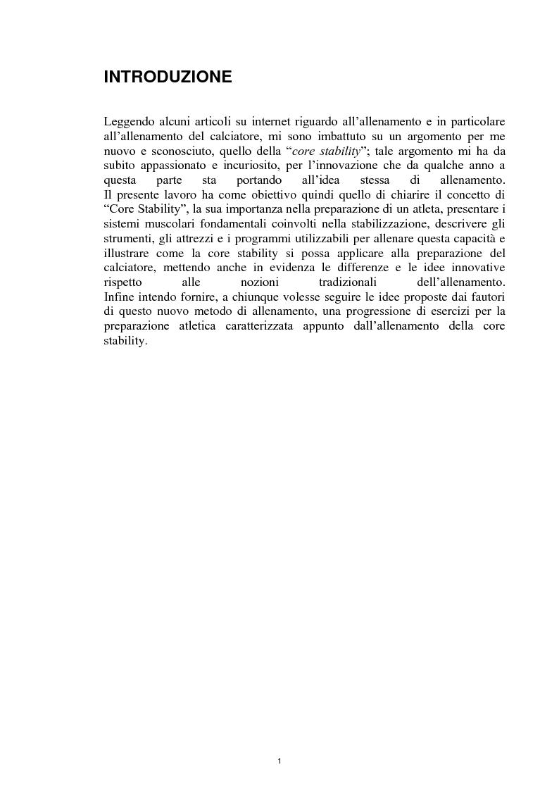 Anteprima della tesi: La Core Stability nel gioco del calcio: metodiche applicative, Pagina 1