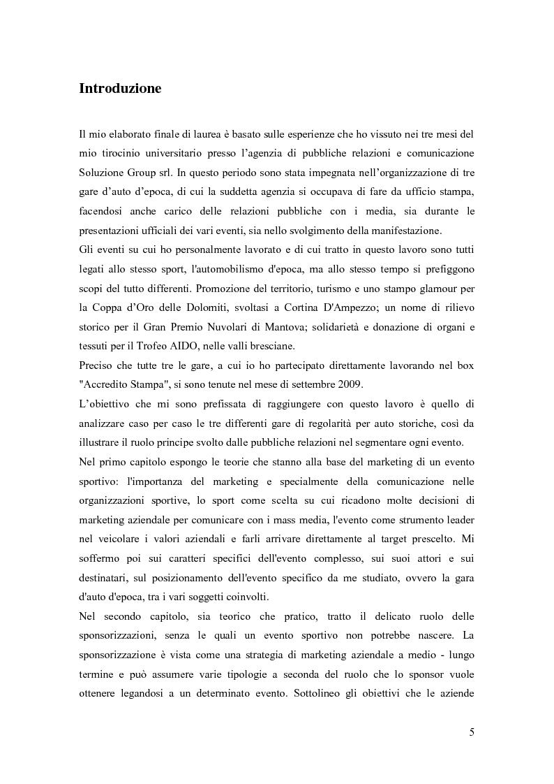 Anteprima della tesi: La comunicazione negli eventi sportivi: studio di tre casi di gare d'auto d'epoca, Pagina 1