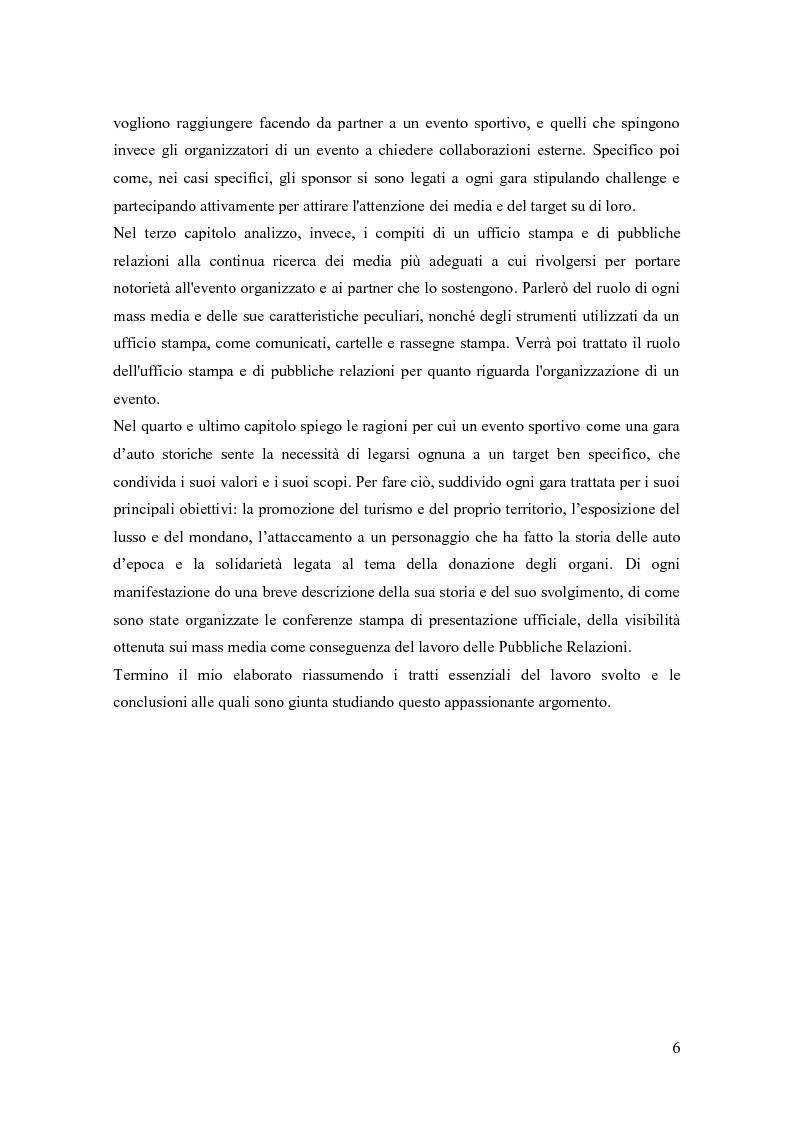 Anteprima della tesi: La comunicazione negli eventi sportivi: studio di tre casi di gare d'auto d'epoca, Pagina 2