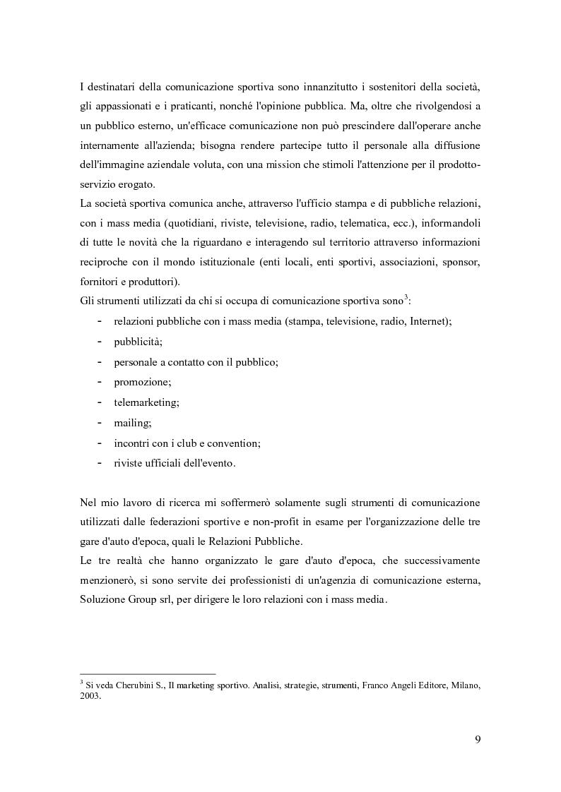 Anteprima della tesi: La comunicazione negli eventi sportivi: studio di tre casi di gare d'auto d'epoca, Pagina 5