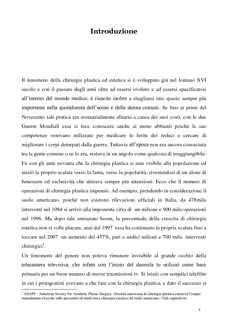 Anteprima della tesi: La concezione della chirurgia plastica nei reality show, Pagina 1