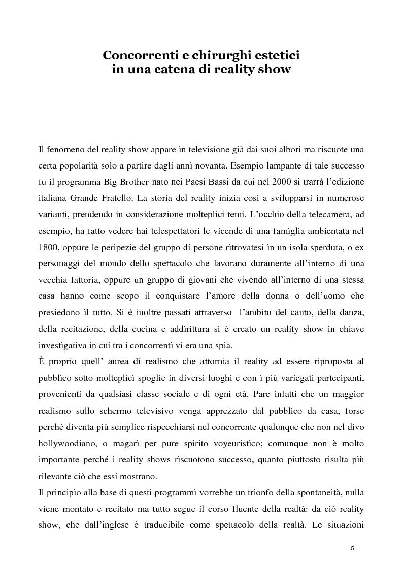Anteprima della tesi: La concezione della chirurgia plastica nei reality show, Pagina 3