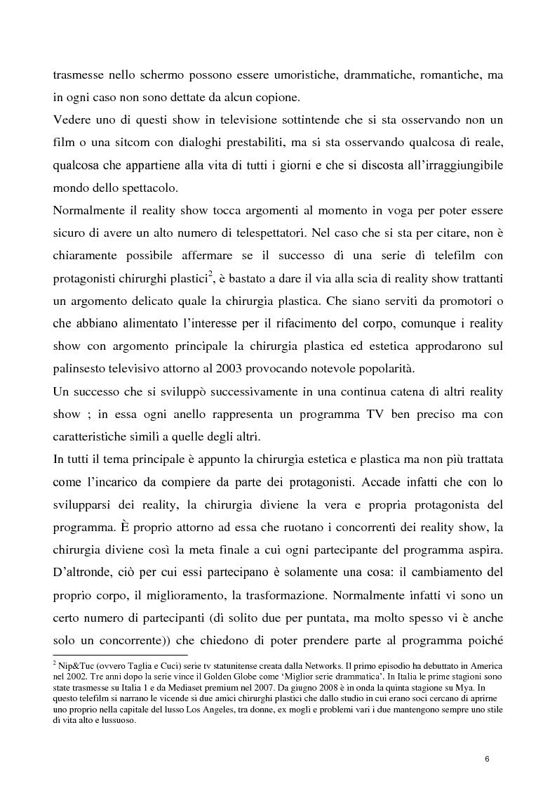 Anteprima della tesi: La concezione della chirurgia plastica nei reality show, Pagina 4
