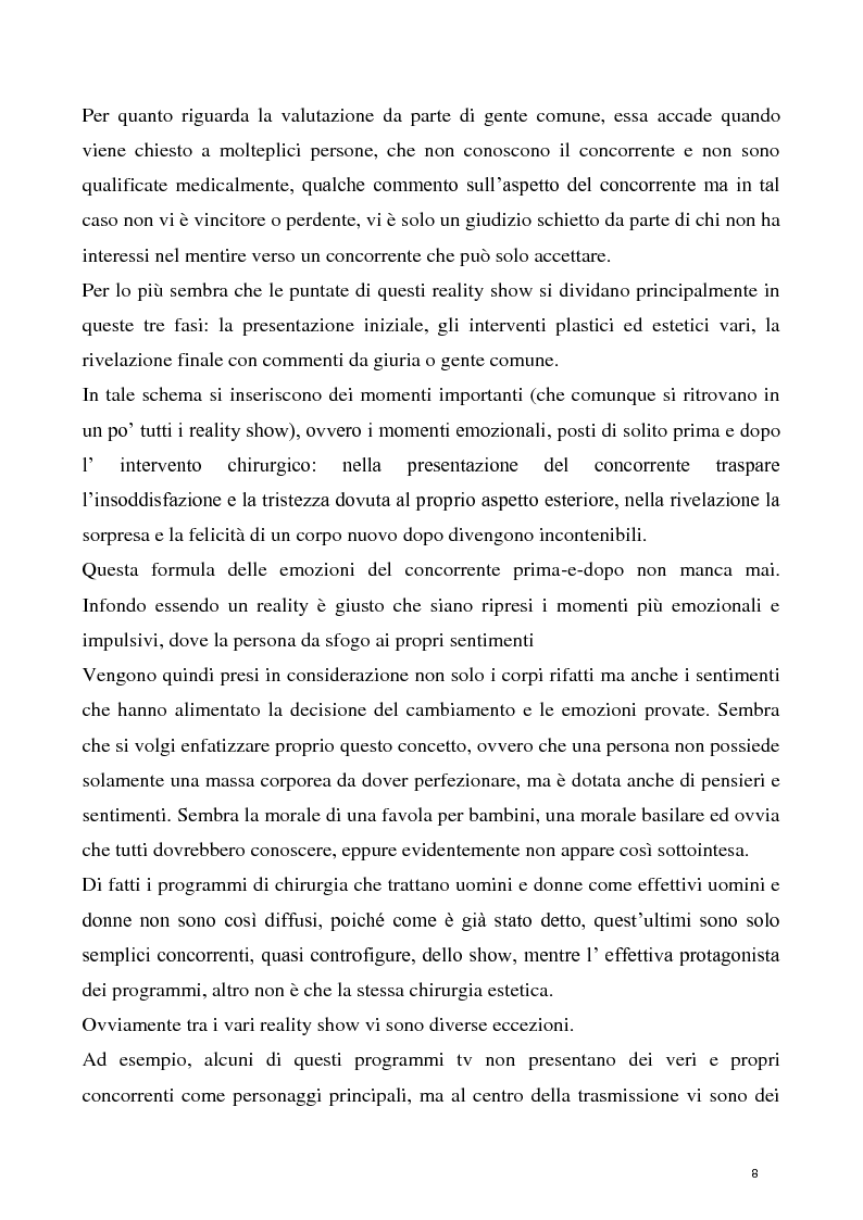 Anteprima della tesi: La concezione della chirurgia plastica nei reality show, Pagina 6