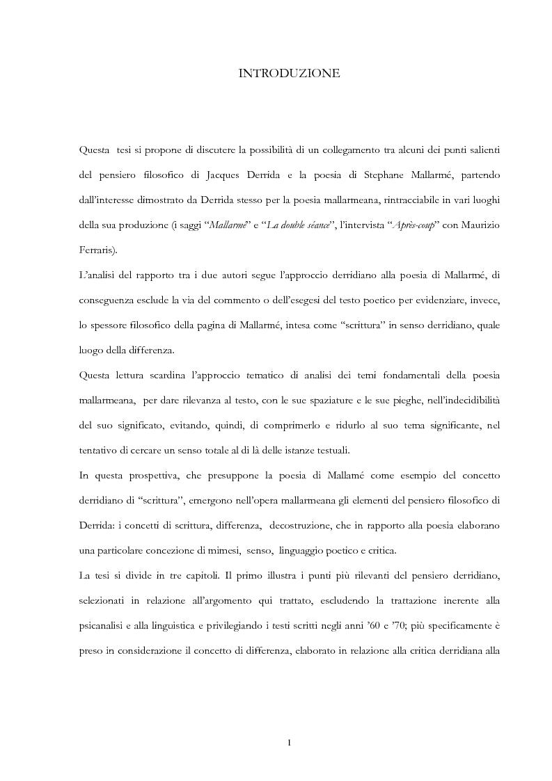Anteprima della tesi: Derrida lettore di Mallarmé, Pagina 1