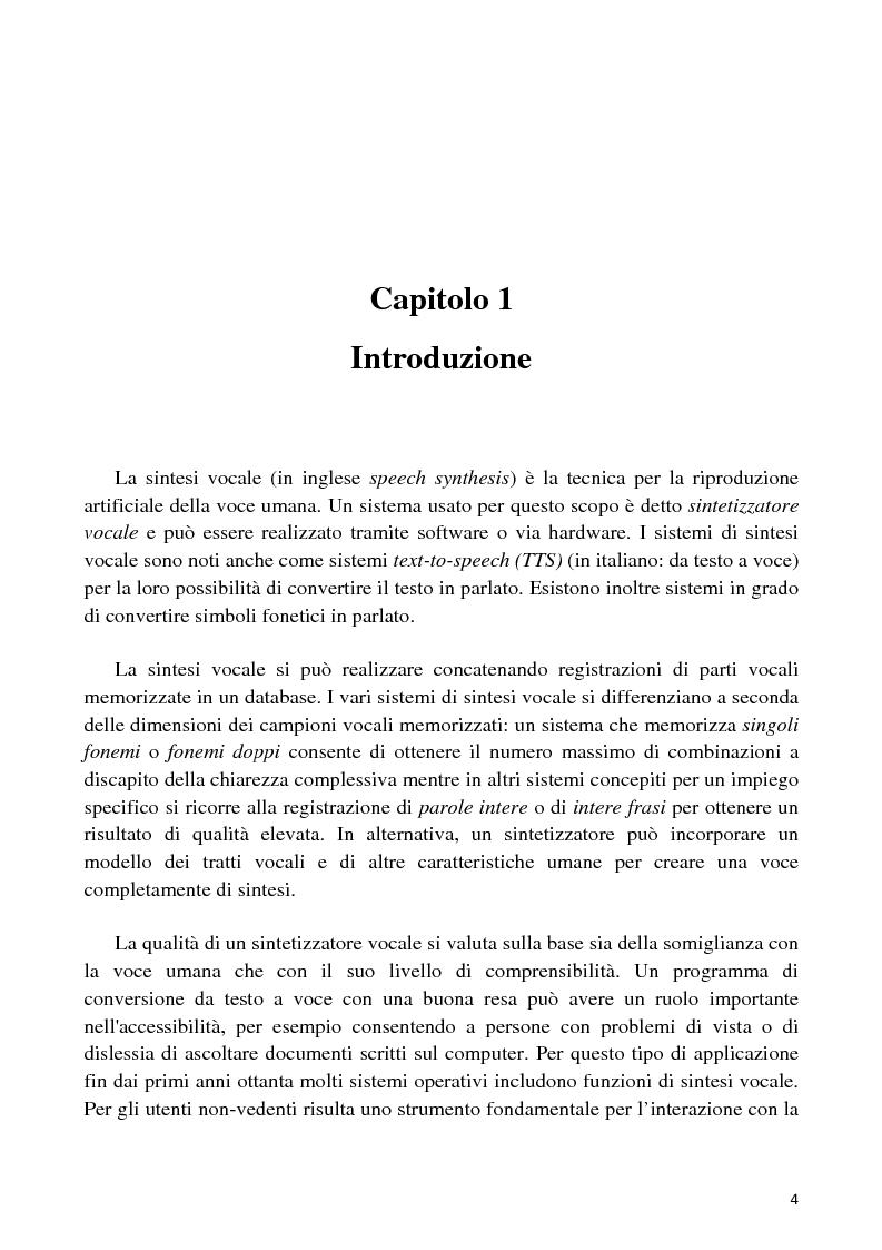 Anteprima della tesi: Sviluppo di un'interfaccia uomo - robot basata su sintesi vocale per concatenazione, Pagina 1