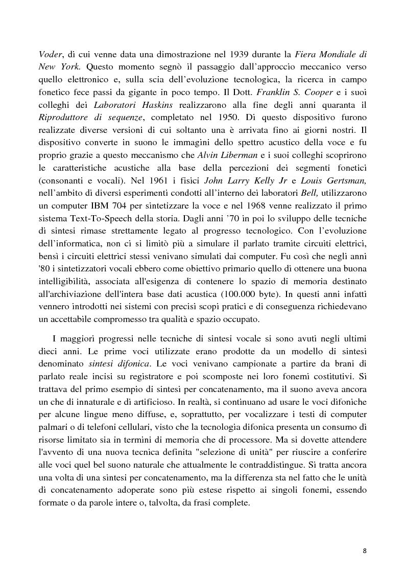 Anteprima della tesi: Sviluppo di un'interfaccia uomo - robot basata su sintesi vocale per concatenazione, Pagina 5