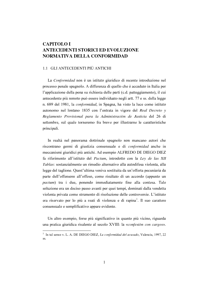 Anteprima della tesi: La ''Conformidad'' nel processo penale spagnolo, Pagina 1