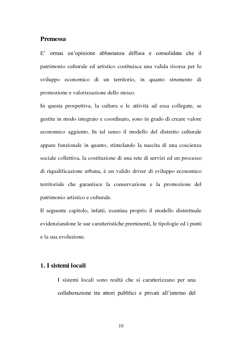 Anteprima della tesi: I distretti culturali: promozione e conservazione di nuove forme d'arte, Pagina 1