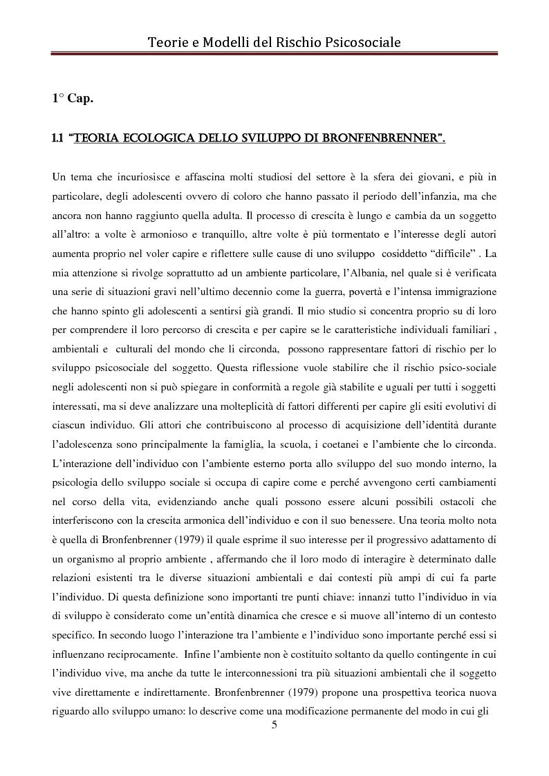Anteprima della tesi: I modelli eziologici del rischio psicosociale: la situazione dei minori in Albania, Pagina 1
