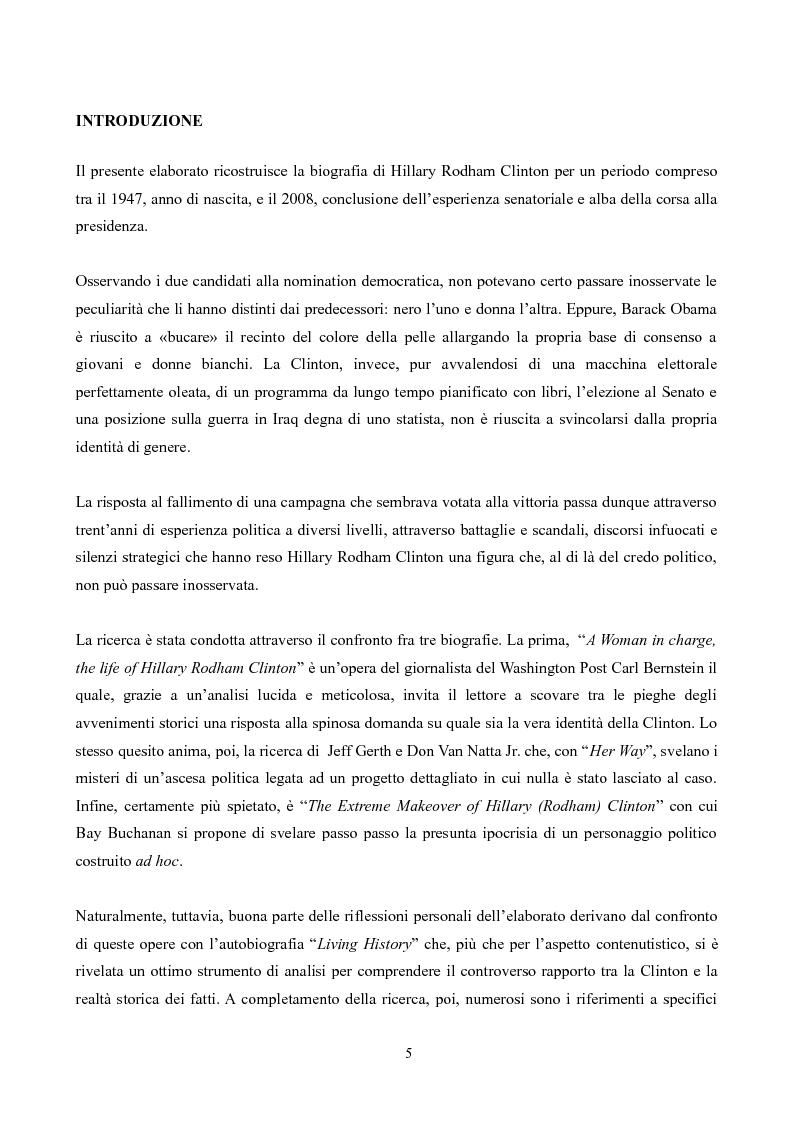 Anteprima della tesi: Hillary Rodham Clinton: l'importanza di essere prime, Pagina 1