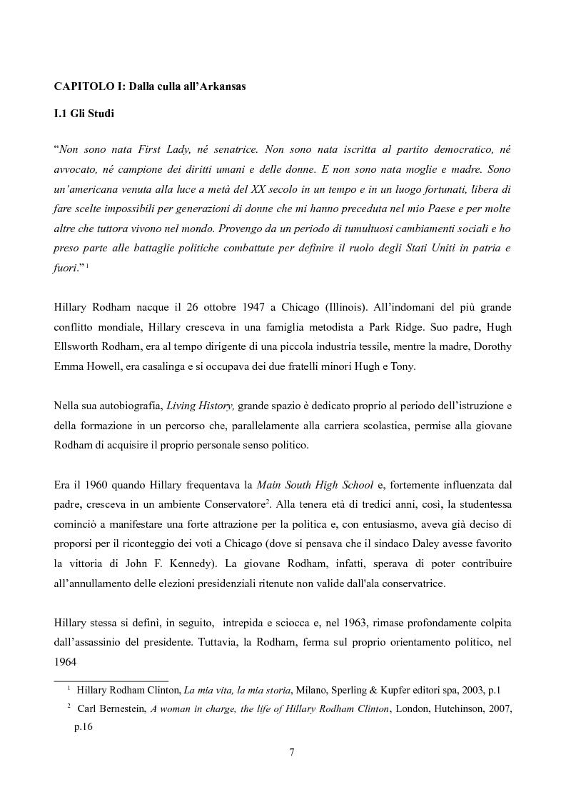 Anteprima della tesi: Hillary Rodham Clinton: l'importanza di essere prime, Pagina 3