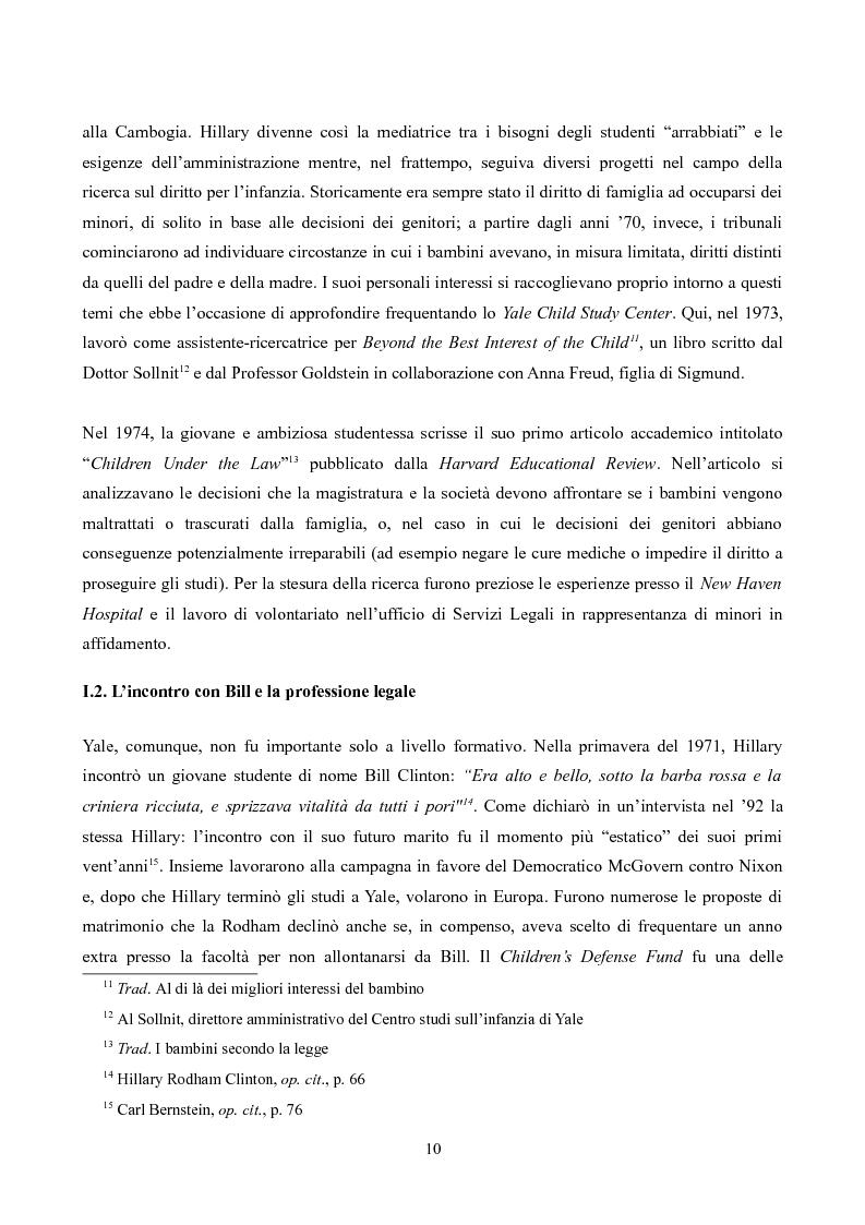 Anteprima della tesi: Hillary Rodham Clinton: l'importanza di essere prime, Pagina 6