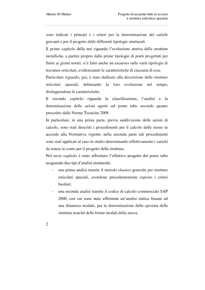 Anteprima della tesi: Progetto di un ponte tubo in acciaio a struttura reticolare spaziale, Pagina 2
