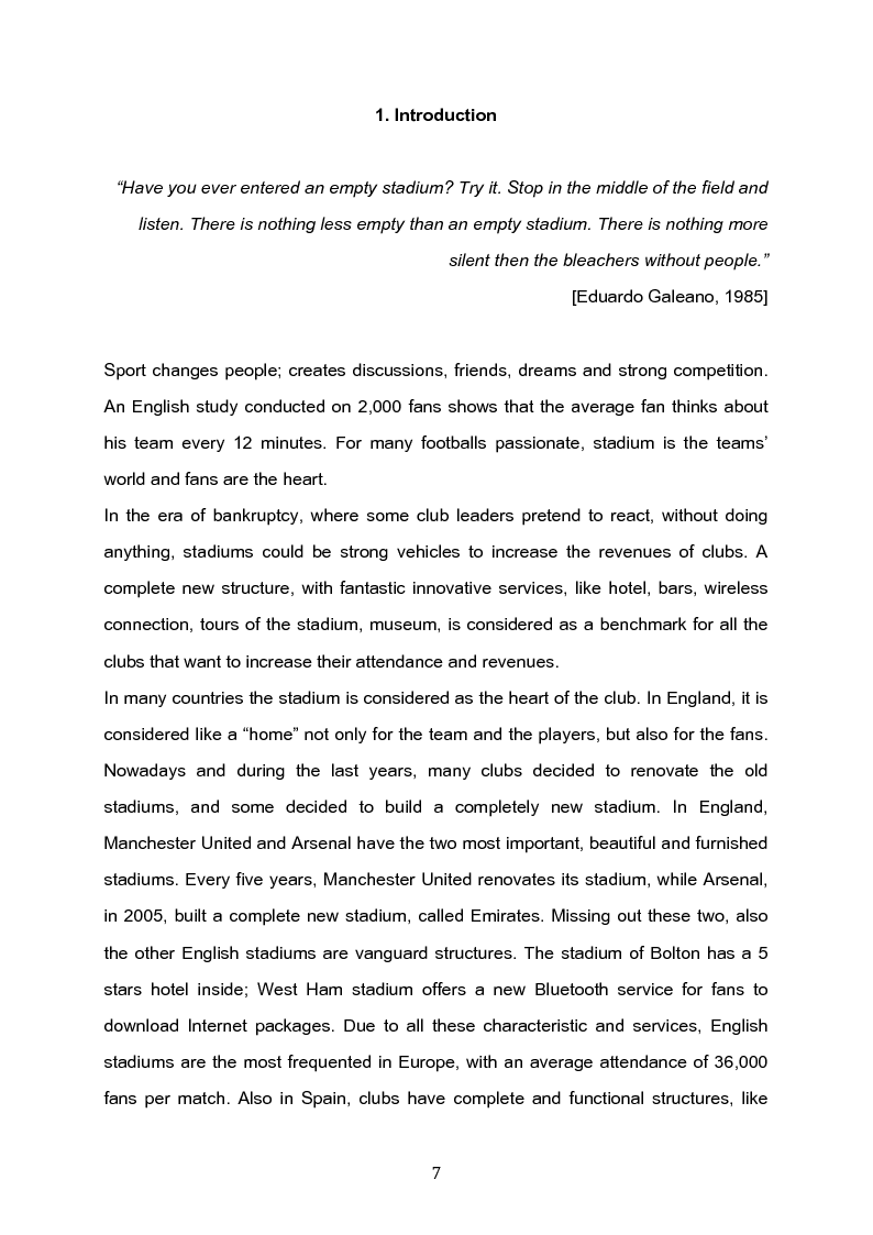 Anteprima della tesi: The future of the Italian stadiums: an empirical analysis, Pagina 1