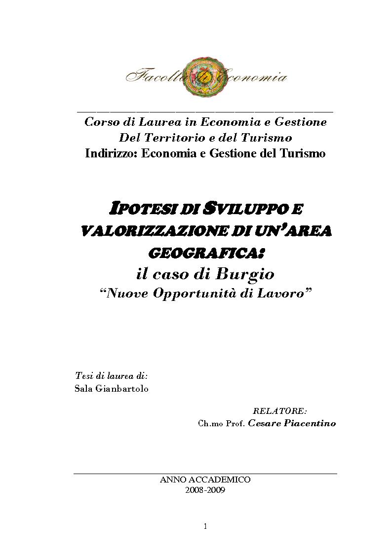 Anteprima della tesi: Ipotesi di sviluppo e valorizzazione di un'area geografica: il caso di Burgio, Pagina 1