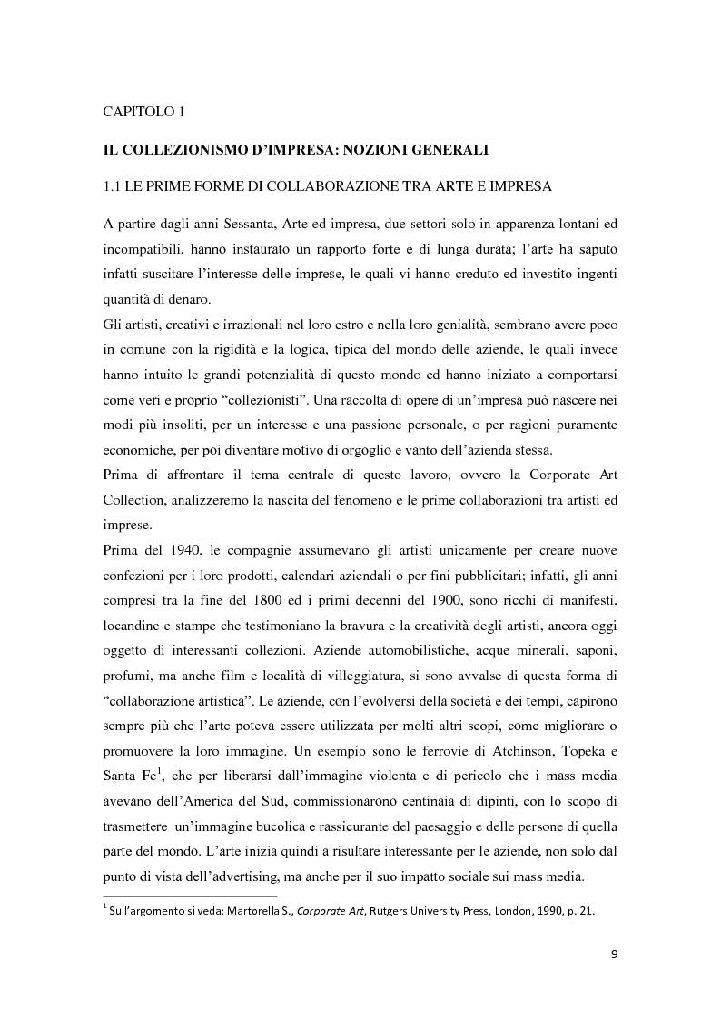 Anteprima della tesi: Corporate art collection: costo o investimento, Pagina 5
