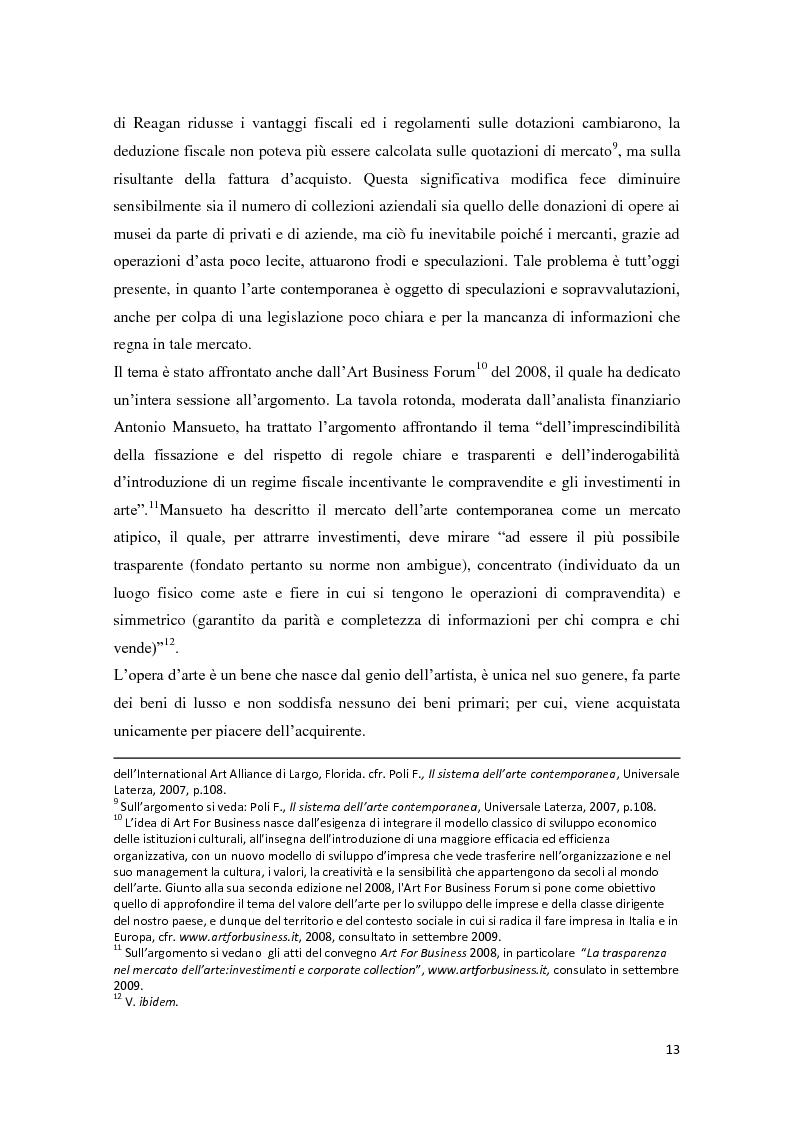 Anteprima della tesi: Corporate art collection: costo o investimento, Pagina 9
