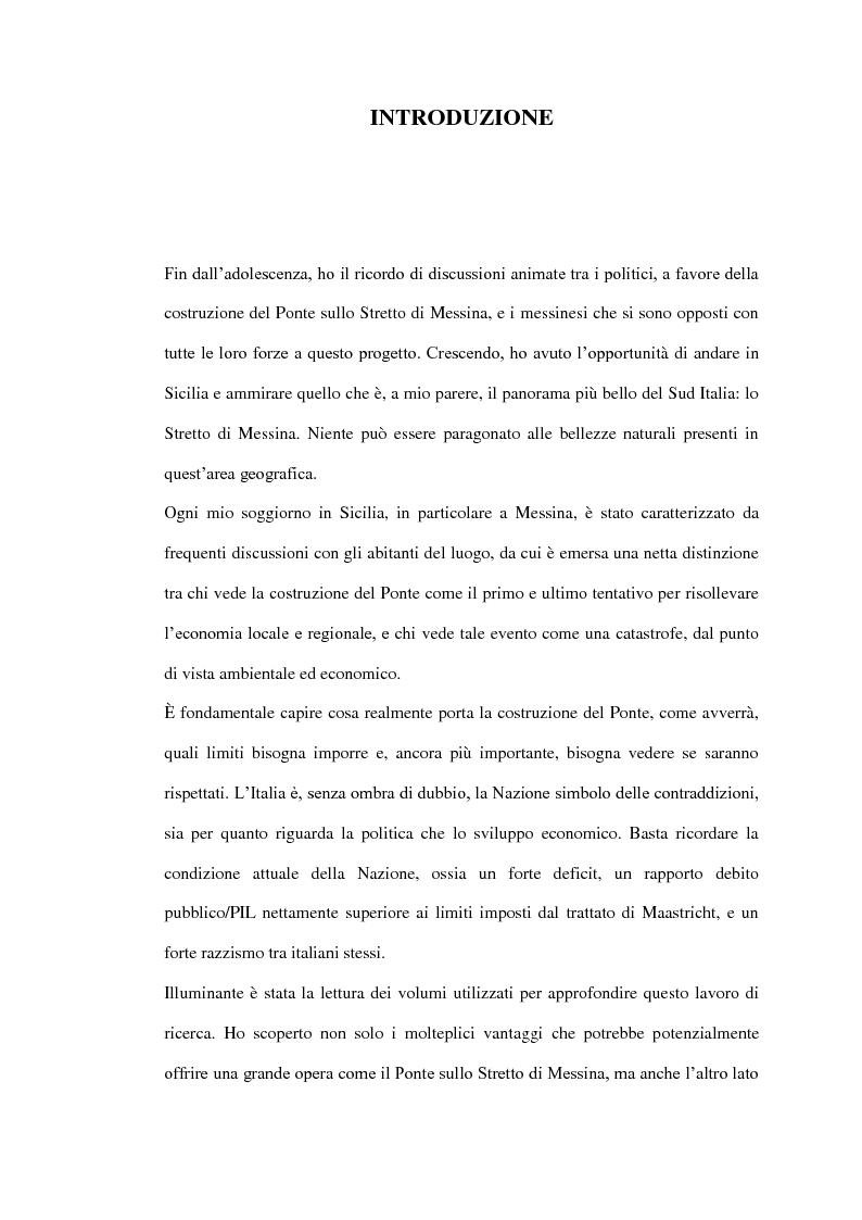 Anteprima della tesi: Il ponte sullo Stretto di Messina - Un ponte d'eccellenza per un territorio d'eccellenza, Pagina 1