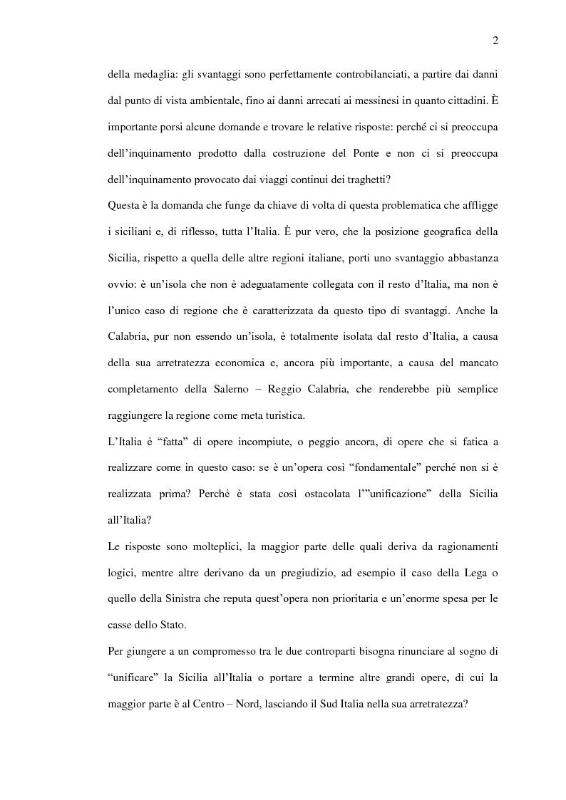 Anteprima della tesi: Il ponte sullo Stretto di Messina - Un ponte d'eccellenza per un territorio d'eccellenza, Pagina 2