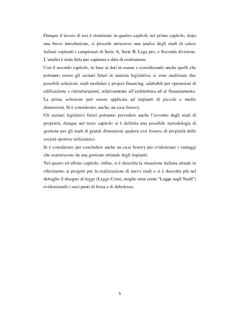 Anteprima della tesi: Realizzazione e gestione degli stadi di calcio: situazione attuale e scenari futuri, Pagina 2