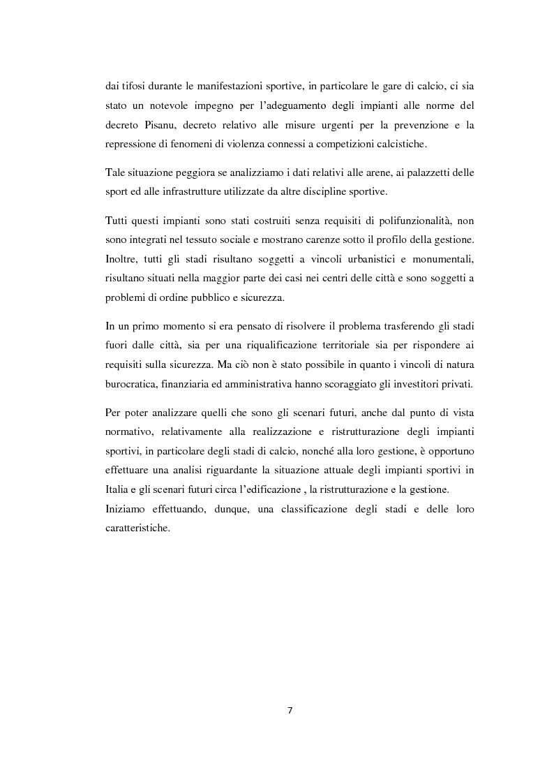 Anteprima della tesi: Realizzazione e gestione degli stadi di calcio: situazione attuale e scenari futuri, Pagina 4