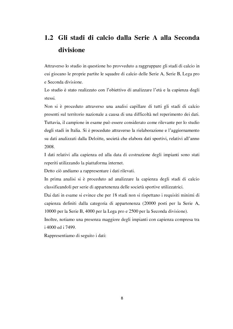 Anteprima della tesi: Realizzazione e gestione degli stadi di calcio: situazione attuale e scenari futuri, Pagina 5