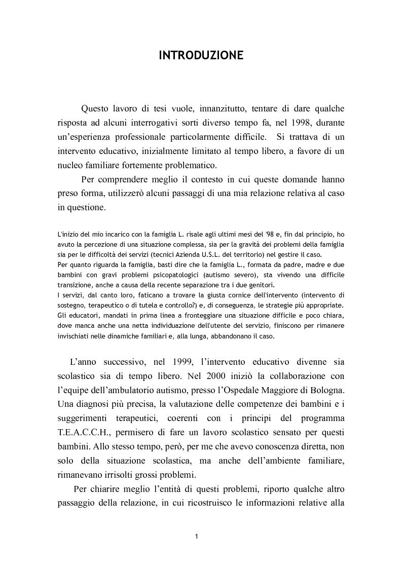 Anteprima della tesi: L'osservazione e la valutazione nell'intervento educativo con i bambini autistici, Pagina 1