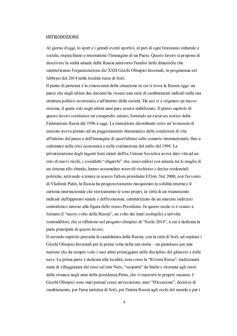 Anteprima della tesi: Lo sport e il nuovo volto della Russia, Pagina 1