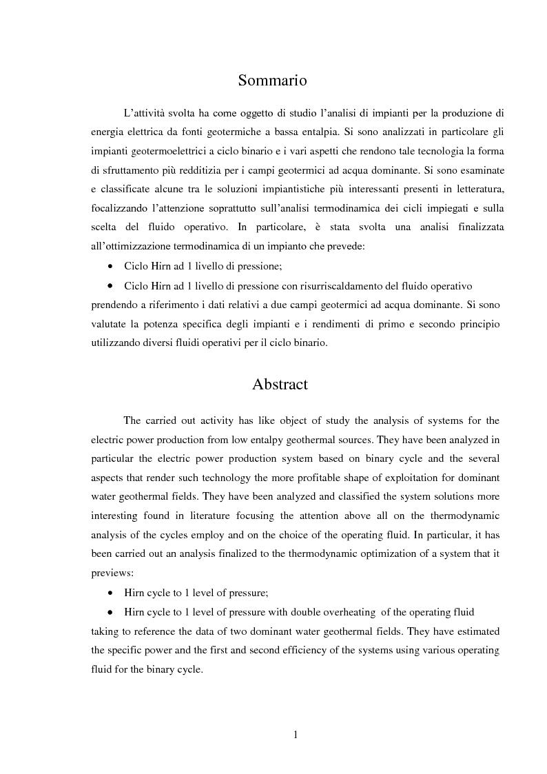 Anteprima della tesi: Produzione di energia elettrica da fonti geotermiche a bassa entalpia , Pagina 1