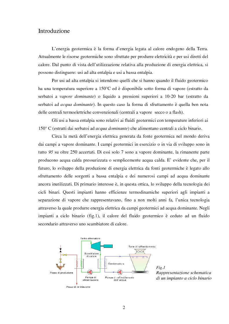 Anteprima della tesi: Produzione di energia elettrica da fonti geotermiche a bassa entalpia , Pagina 2
