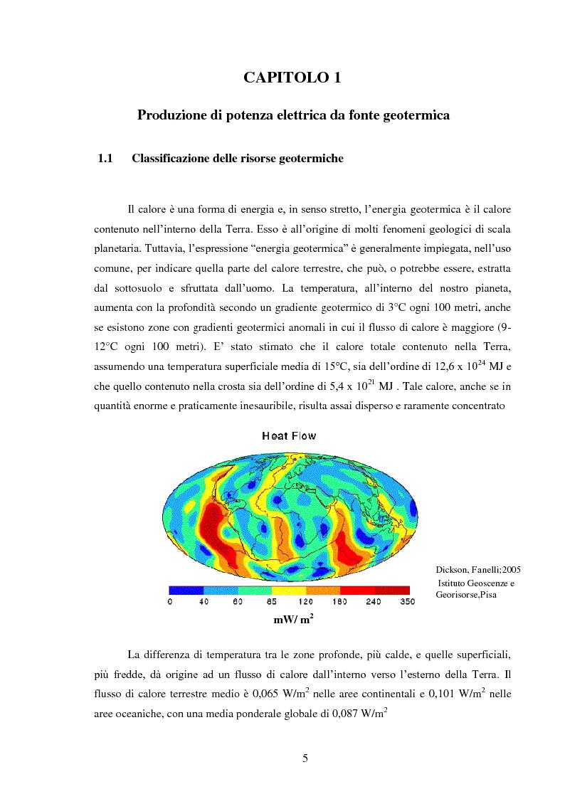 Anteprima della tesi: Produzione di energia elettrica da fonti geotermiche a bassa entalpia , Pagina 5
