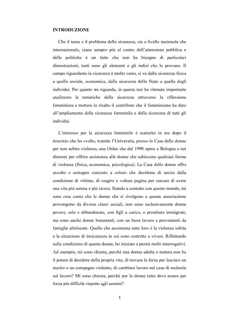 Anteprima della tesi: La riflessione femminista sulla sicurezza, Pagina 1