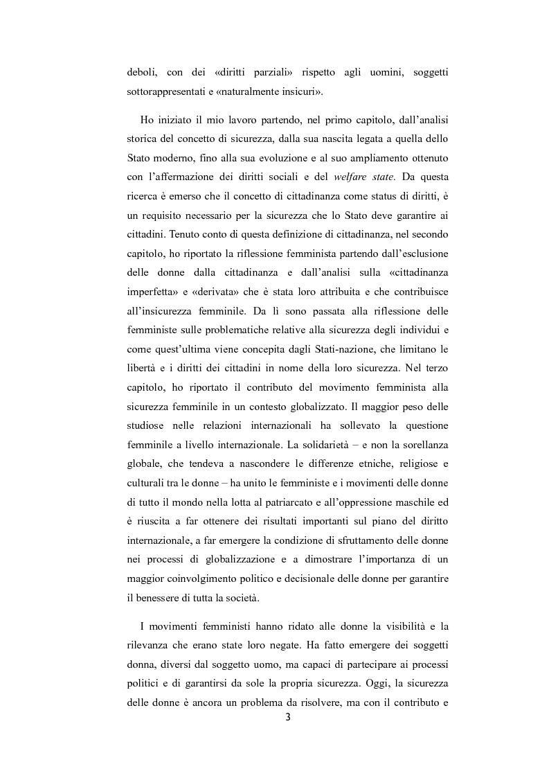 Anteprima della tesi: La riflessione femminista sulla sicurezza, Pagina 3