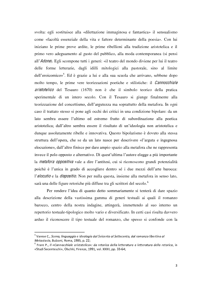 """Anteprima della tesi: Il romanzo secentesco e i suoi generi testuali: analisi del """"Cordimarte"""" di G. Artale, Pagina 3"""