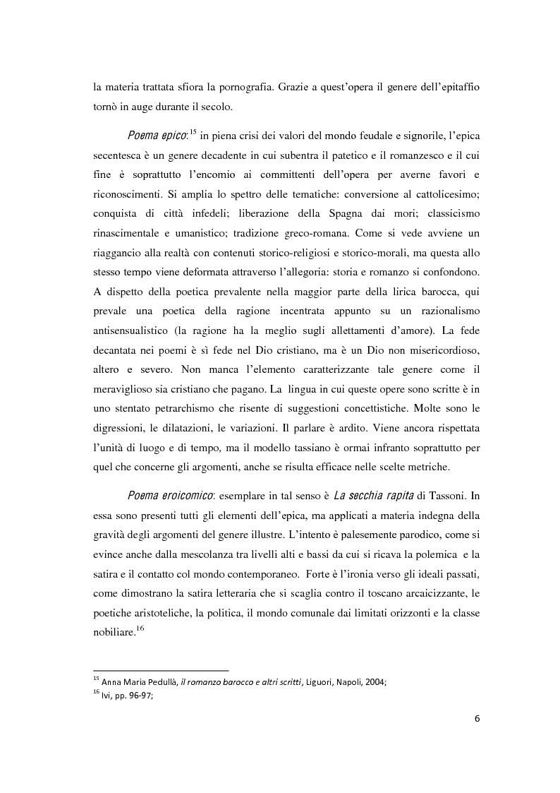 """Anteprima della tesi: Il romanzo secentesco e i suoi generi testuali: analisi del """"Cordimarte"""" di G. Artale, Pagina 6"""