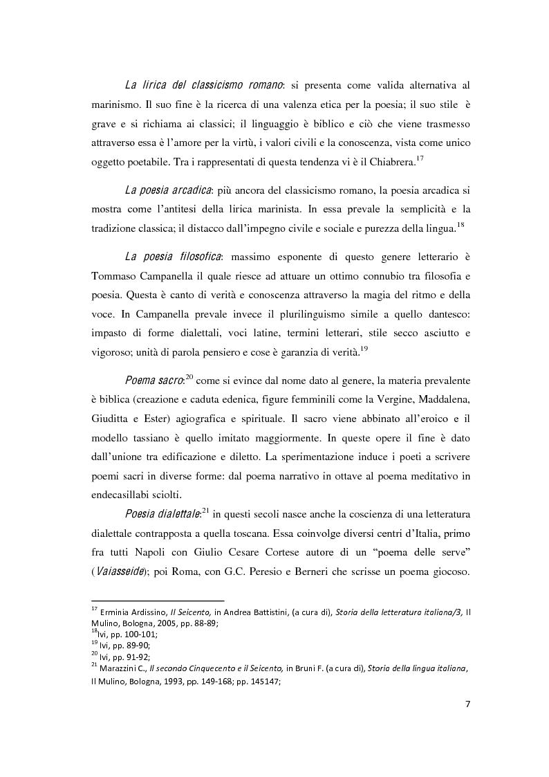 """Anteprima della tesi: Il romanzo secentesco e i suoi generi testuali: analisi del """"Cordimarte"""" di G. Artale, Pagina 7"""