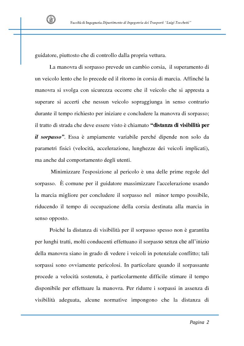 Anteprima della tesi: Sicurezza stradale: analisi della manovra di sorpasso con l'ausilio di sperimentazione su strada e simulazione al calcolatore, Pagina 2