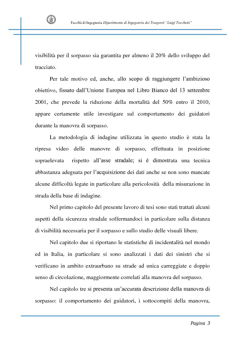Anteprima della tesi: Sicurezza stradale: analisi della manovra di sorpasso con l'ausilio di sperimentazione su strada e simulazione al calcolatore, Pagina 3