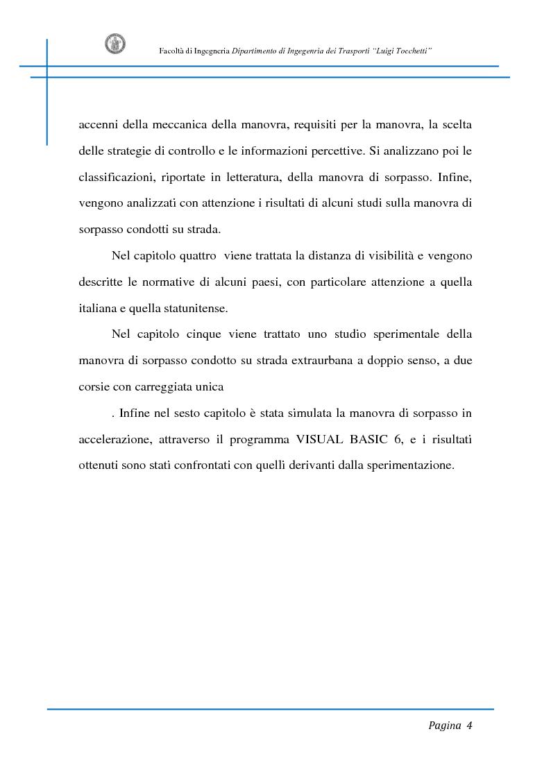 Anteprima della tesi: Sicurezza stradale: analisi della manovra di sorpasso con l'ausilio di sperimentazione su strada e simulazione al calcolatore, Pagina 4